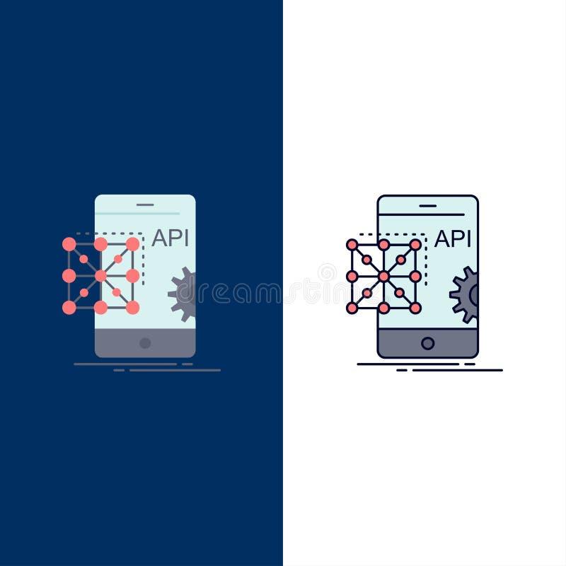 Api, Application, coding, Development, Mobile Flat Color Icon Vector stock illustration