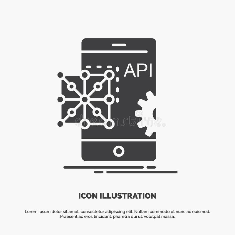 Api, Application, coding, Development, Mobile Icon. glyph vector gray symbol for UI and UX, website or mobile application. Vector EPS10 Abstract Template stock illustration