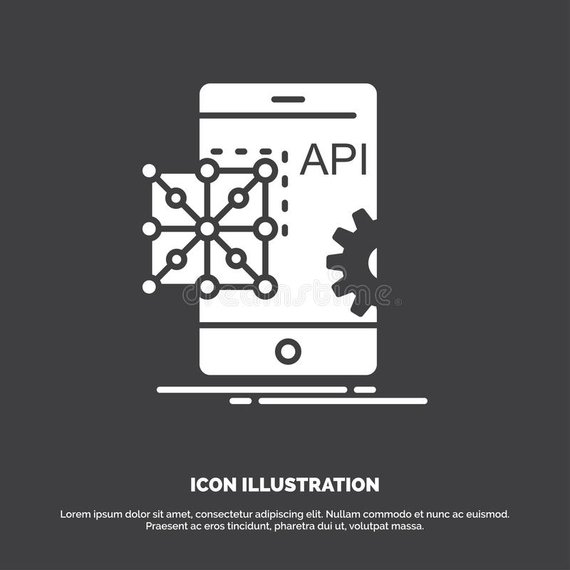 Api, Application, coding, Development, Mobile Icon. glyph vector symbol for UI and UX, website or mobile application. Vector EPS10 Abstract Template background stock illustration