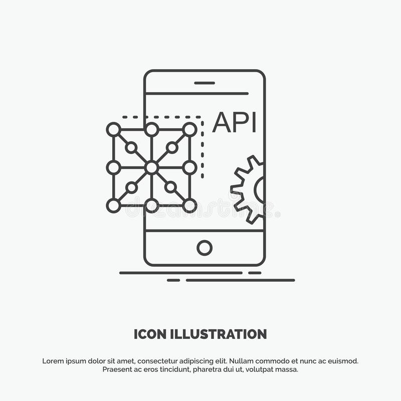 Api, Application, coding, Development, Mobile Icon. Line vector gray symbol for UI and UX, website or mobile application. Vector EPS10 Abstract Template royalty free illustration
