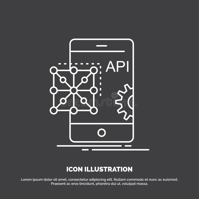Api, Application, coding, Development, Mobile Icon. Line vector symbol for UI and UX, website or mobile application. Vector EPS10 Abstract Template background royalty free illustration