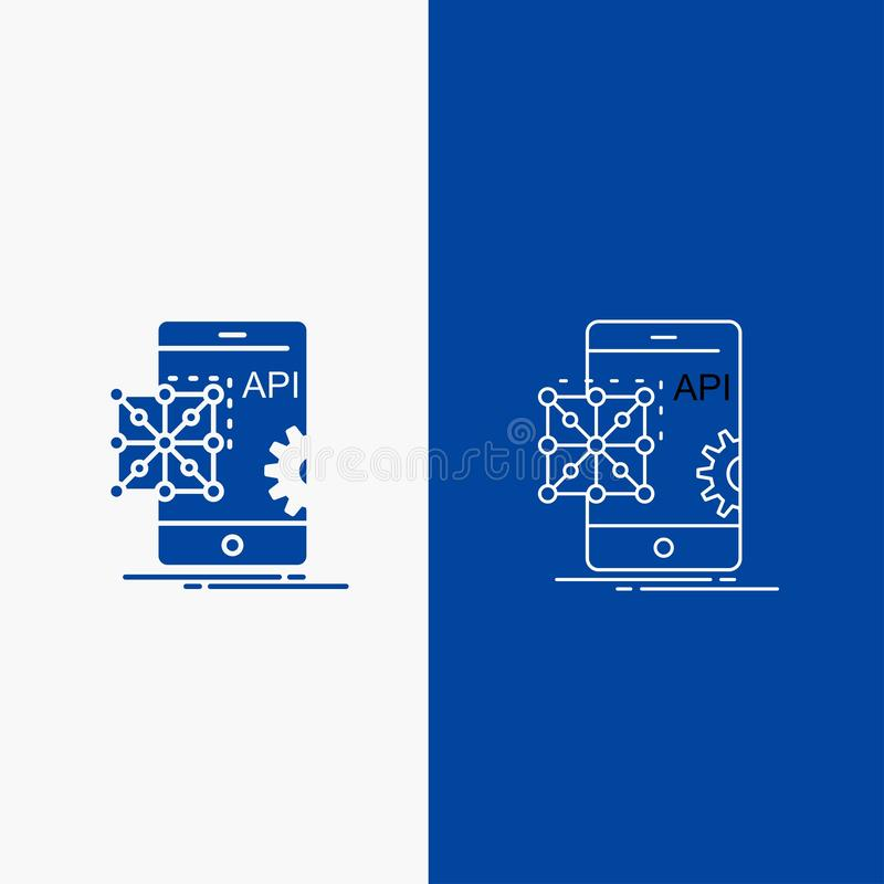 Api, Application, coding, Development, Mobile Line and Glyph web Button in Blue color Vertical Banner for UI and UX, website or. Mobile application. Vector royalty free illustration