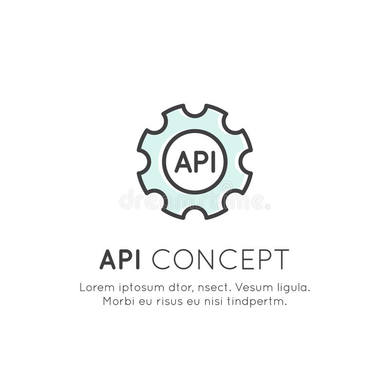 API Application Programming Interface, Cloud Data, Web and Mobile App Development royalty free illustration