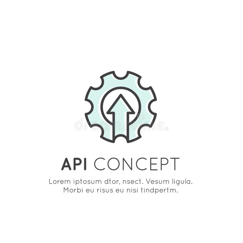 API Application Programming Interface, Cloud Data, Web and Mobile royalty free illustration