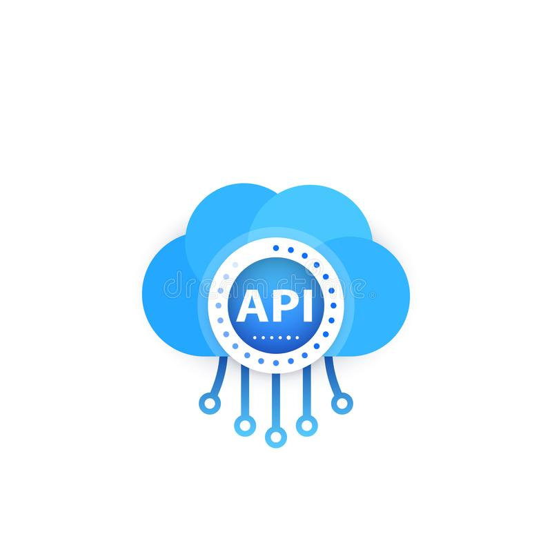 API, application programming interface, cloud stock illustration