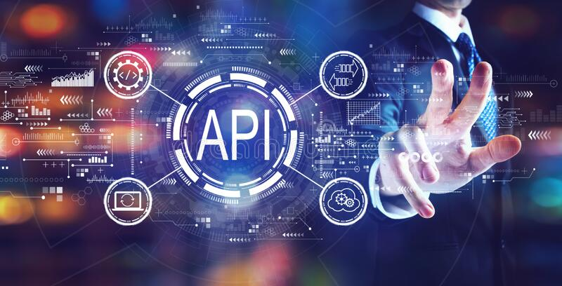 API - application programming interface concept API concept with businessman stock images