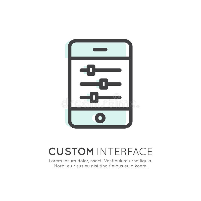 API Application Programming Interface, Custom Settings and Preferences, Sliders on Mobile Phone Screen Touch stock illustration
