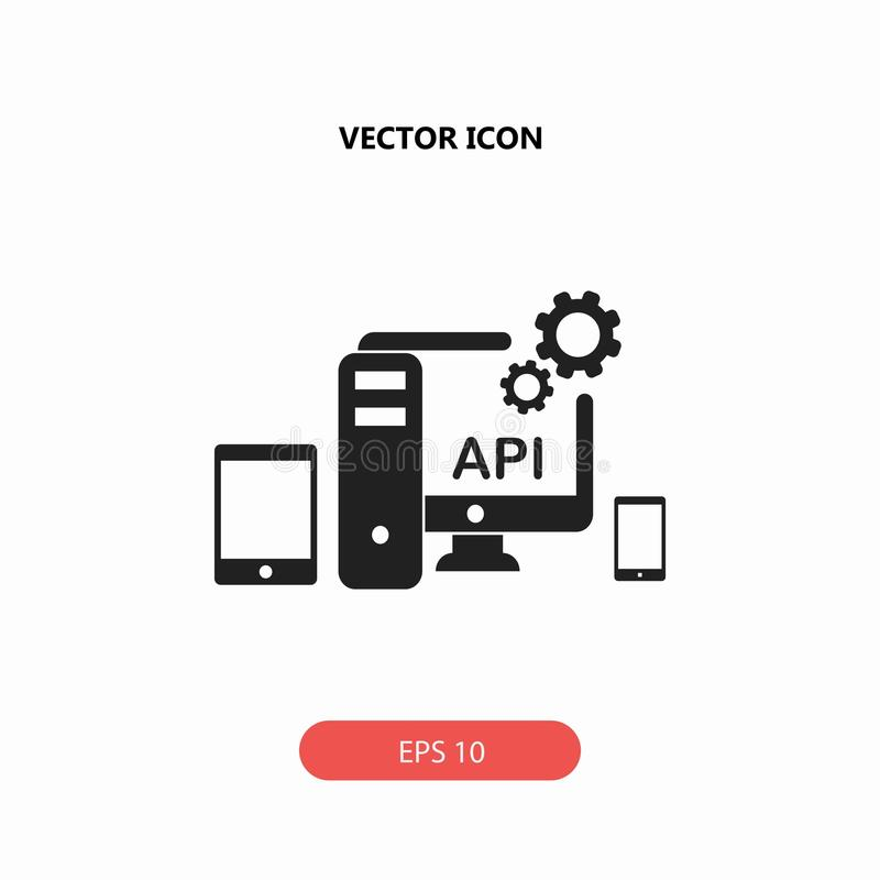 API, application programming interface icon. Isolated on white background stock illustration