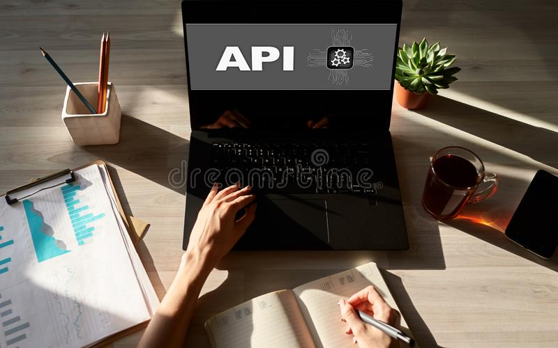 API application programming interface. Internet and technology concept. stock images