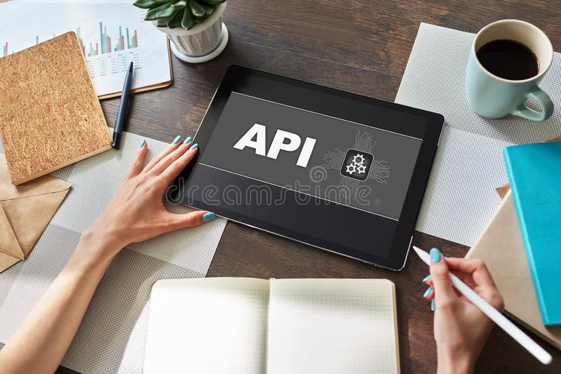 API application programming interface. Internet and technology concept. royalty free stock photography