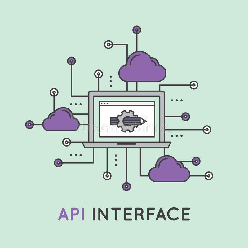 API Application Programming Interface with Laptop stock illustration