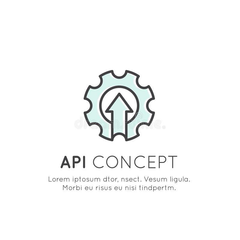 API Application Programming Interface, molndata, rengöringsduk och mobil royaltyfri illustrationer