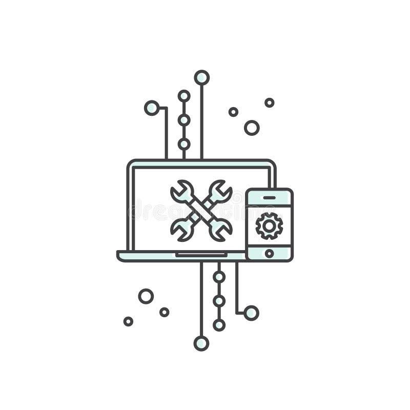 API Application Programming Interface, molndata, rengöringsduk och mobil App-utveckling stock illustrationer
