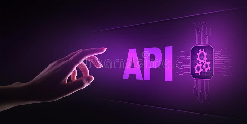 API - Application Programming Interface, software development tool, information technology and business concept. stock images