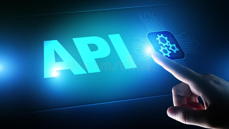 API - Application Programming Interface, software development tool, information technology and business concept. stock photos