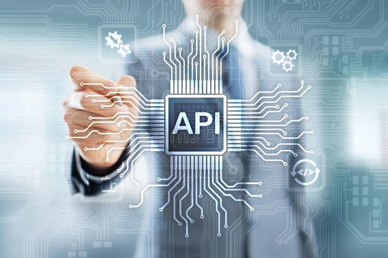 API - Application Programming Interface, software development tool, information technology and business concept. stock photography