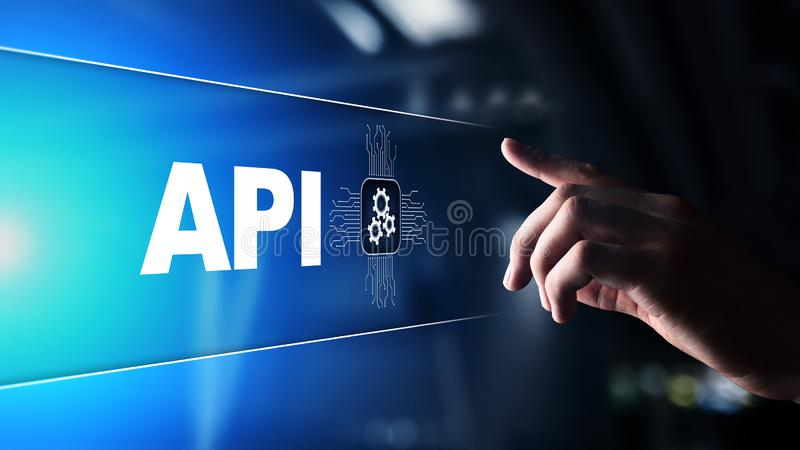 API - Application programming interface, software-ontwikkelinghulpmiddel, informatietechnologie en bedrijfsconcept stock foto's