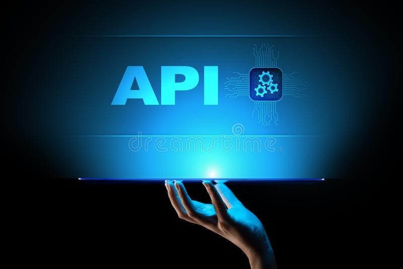 API - Application programming interface, software-ontwikkelinghulpmiddel, informatietechnologie en bedrijfsconcept royalty-vrije stock afbeelding