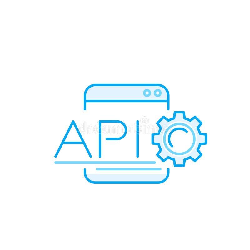 API, application programming interface vectorpictogram vector illustratie