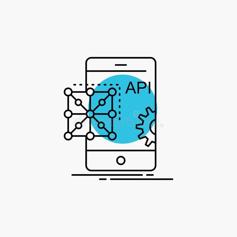 Api applikation som kodifierar, utveckling, mobil linje symbol vektor illustrationer