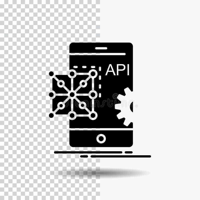 Api applikation som kodifierar, utveckling, mobil skårasymbol på genomskinlig bakgrund Svart symbol stock illustrationer
