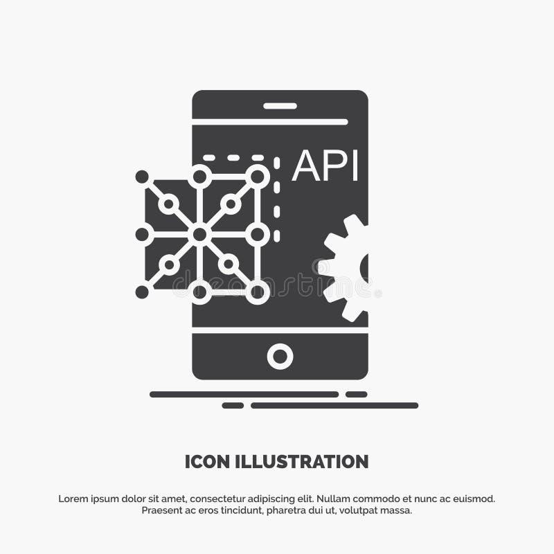 Api applikation som kodifierar, utveckling, mobil symbol gr?tt symbol f?r sk?ravektor f?r UI och UX, website eller mobil applikat stock illustrationer