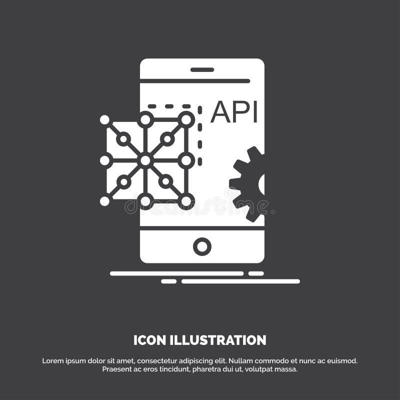 Api applikation som kodifierar, utveckling, mobil symbol r stock illustrationer