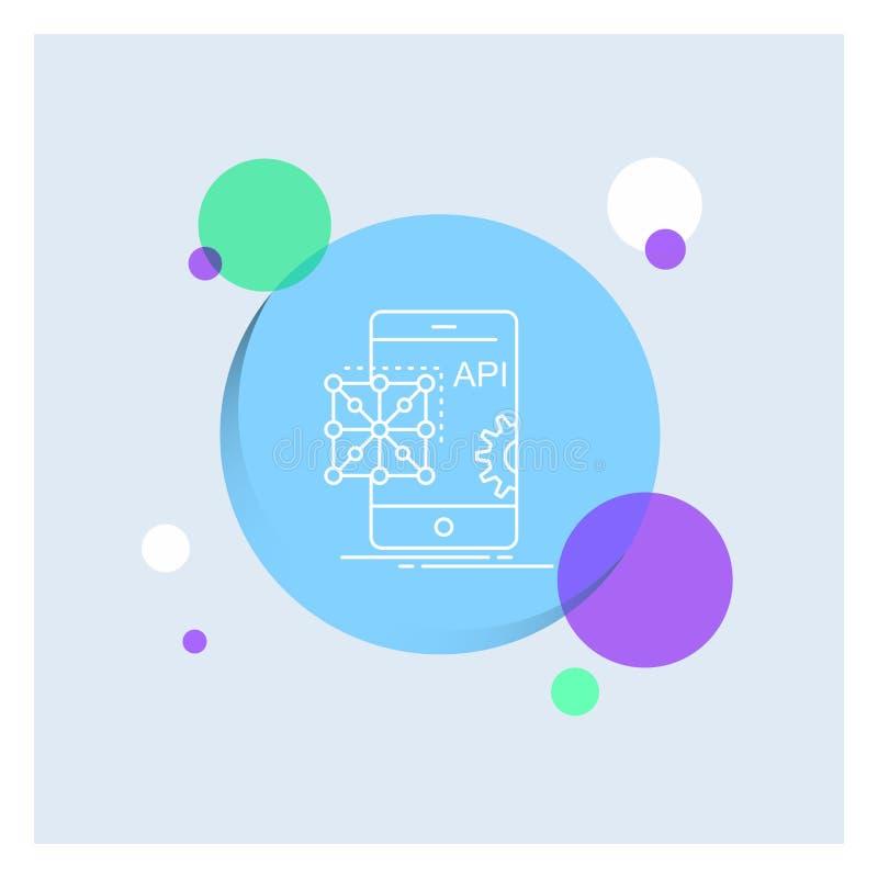 Api applikation som kodifierar, utveckling, mobil vit linje färgrik cirkelbakgrund för symbol royaltyfri illustrationer