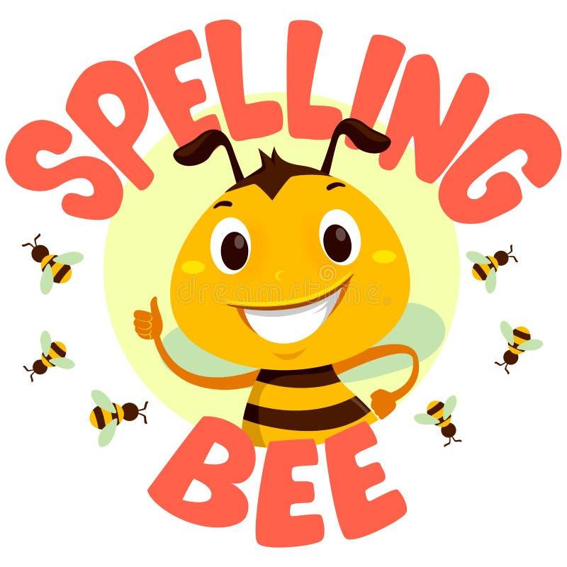 Api con la parola dell'ape di ortografia illustrazione di stock