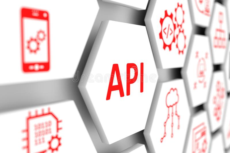 API concept. Cell blurred background 3d illustration stock illustration