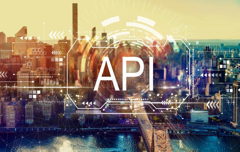 API concept with New York City royalty free stock images
