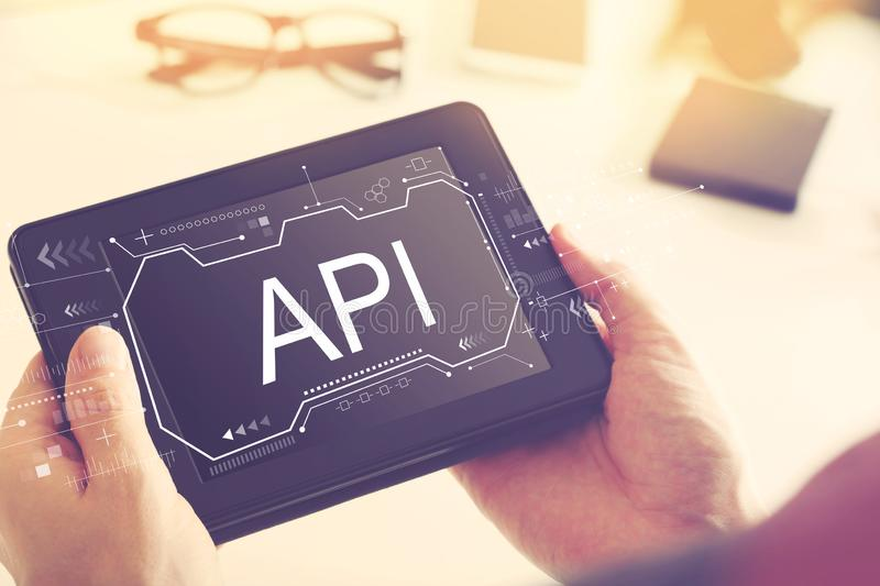 API concept with a tablet computer royalty free stock photo