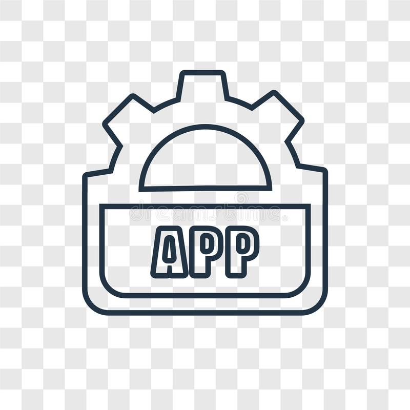 Api concept vector linear icon isolated on transparent background, Api concept transparency logo in outline style. Api concept vector linear icon isolated on royalty free illustration