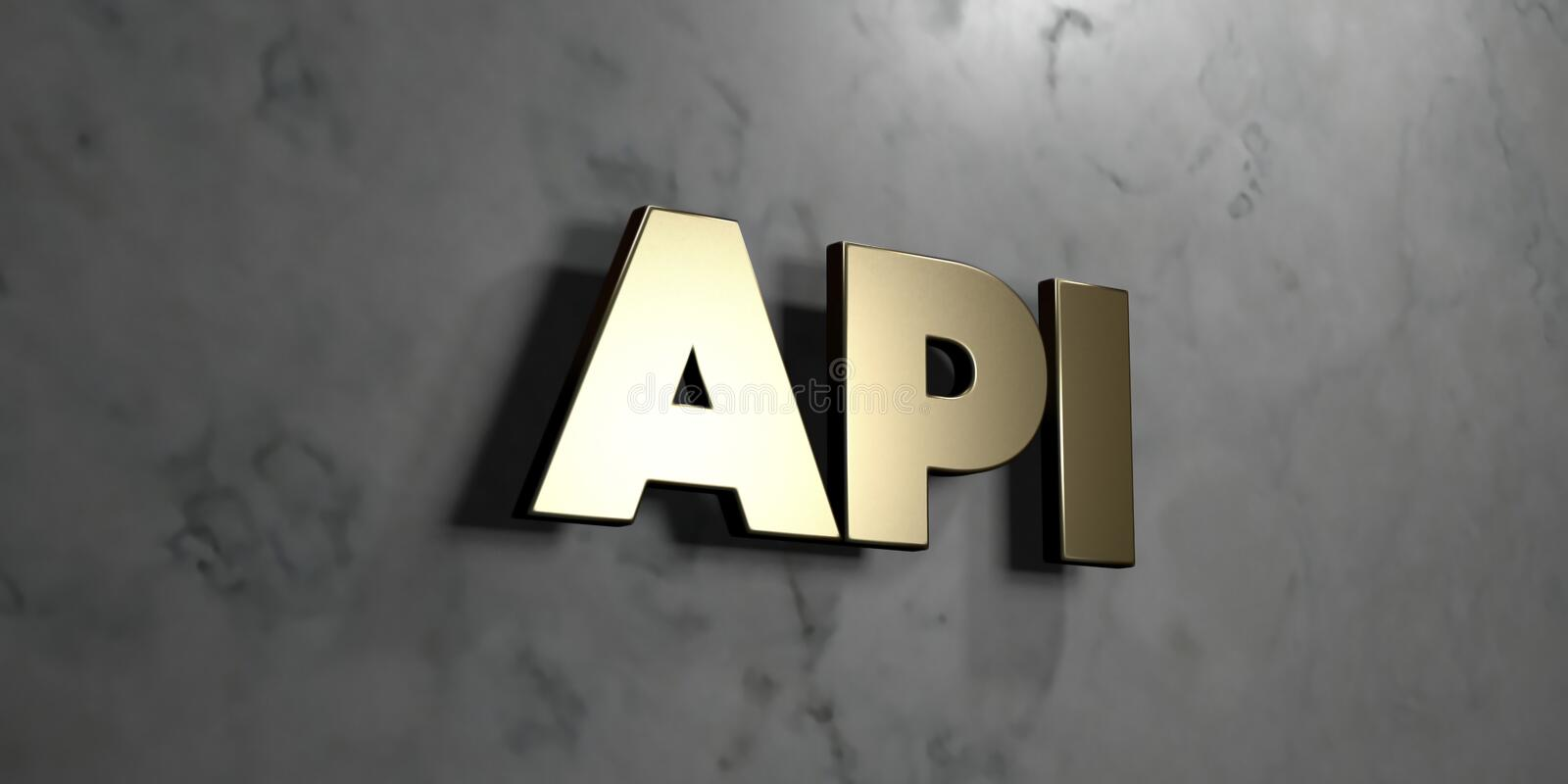 Api - Gold Sign Mounted On Glossy Marble Wall - 3D Rendered