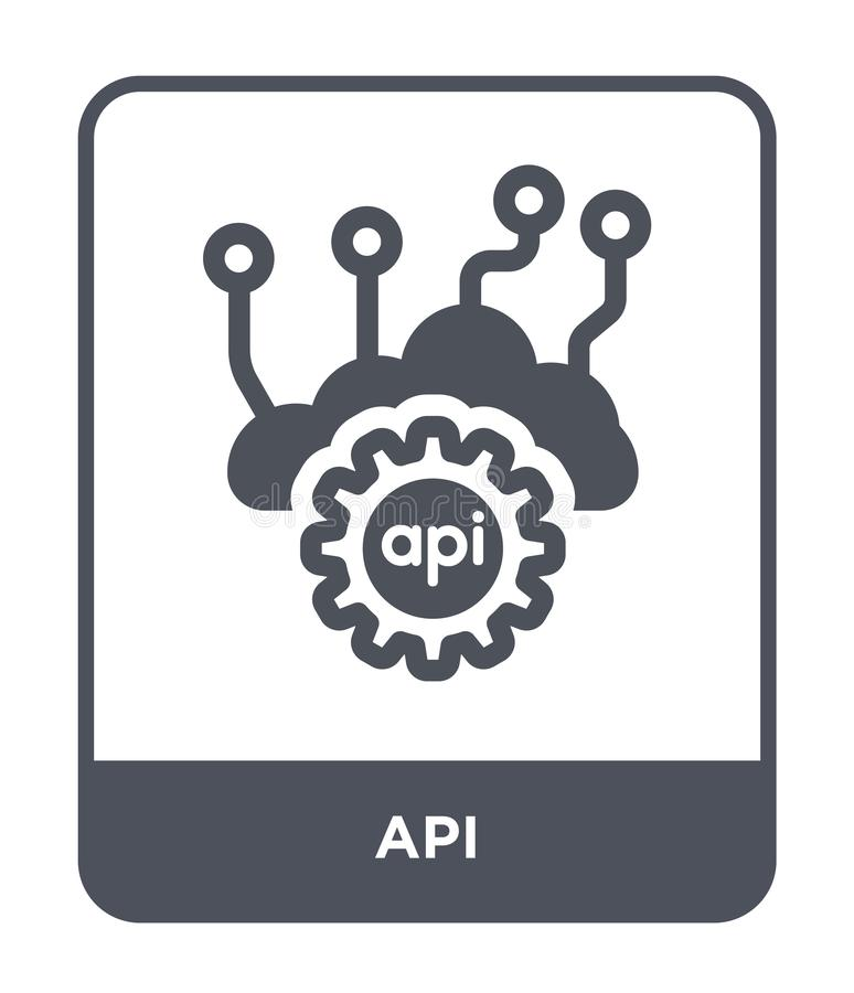 Api icon in trendy design style. api icon isolated on white background. api vector icon simple and modern flat symbol for web site. Mobile, logo, app, UI stock illustration