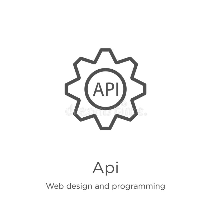 Api icon vector from web design and programming collection. Thin line api outline icon vector illustration. Outline, thin line api vector illustration