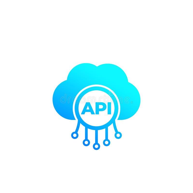 API, icono de la integración de software de la nube stock de ilustración
