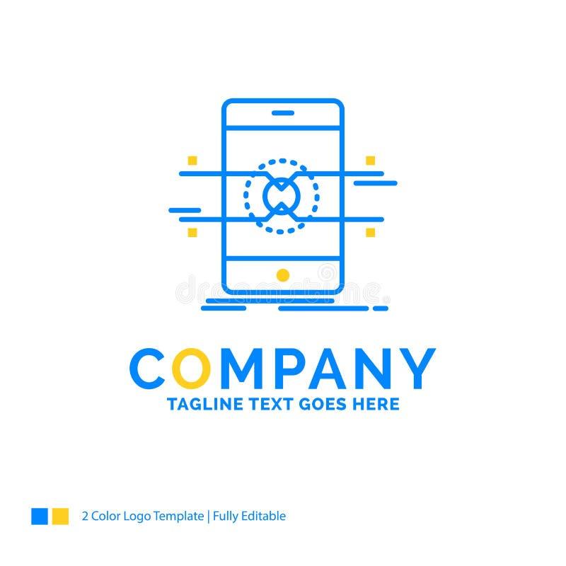 Api, interfaccia, cellulare, telefono, affare giallo blu L dello smartphone illustrazione vettoriale