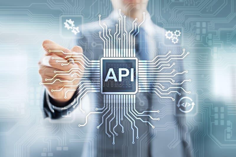 API - Interfaz de programaci?n de uso, herramienta del desarrollo de programas, tecnolog?a de la informaci?n y concepto del negoc fotografía de archivo
