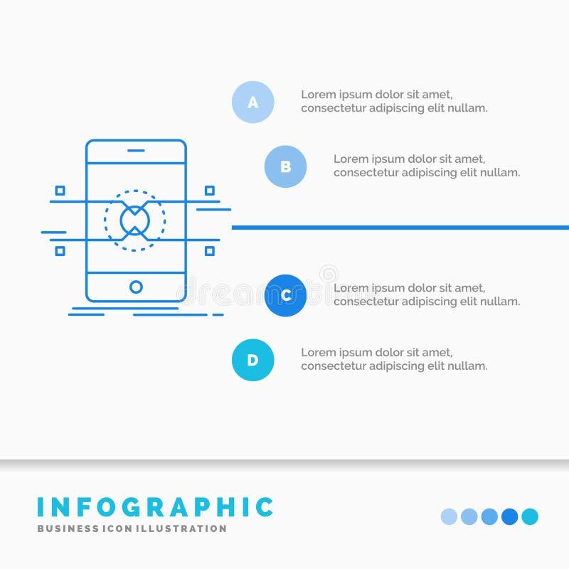 Api, interfejs, wisz?ca ozdoba, telefon, smartphone Infographics szablon dla strony internetowej i prezentacja, Kreskowej B??kitn ilustracji