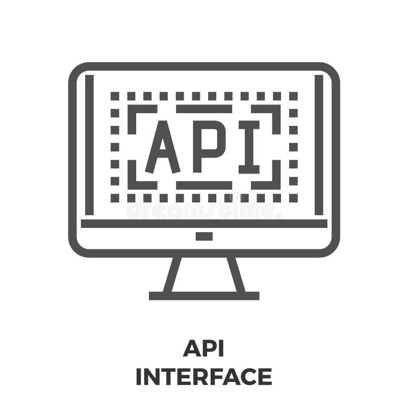 API interfejsu linii ikona ilustracja wektor