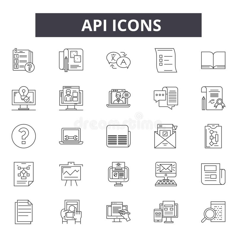 Api line icons for web and mobile design. Editable stroke signs. Api  outline concept illustrations royalty free illustration