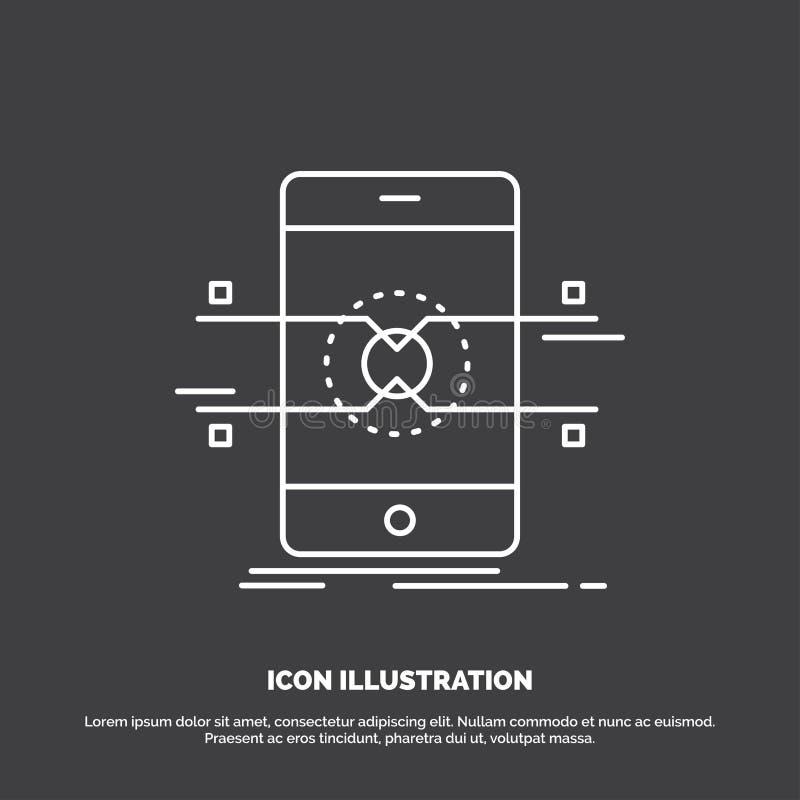 Api, mobiele interface, telefoon, smartphonepictogram Lijn vectorsymbool voor UI en UX, website of mobiele toepassing vector illustratie