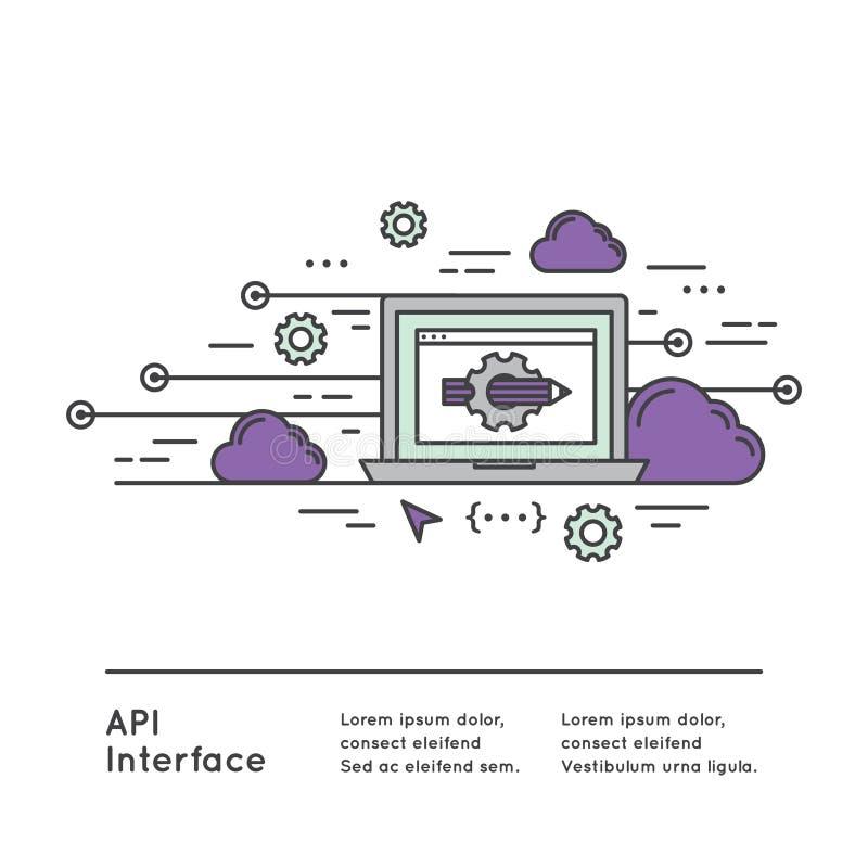 API Podaniowego programowania interfejs ilustracja wektor