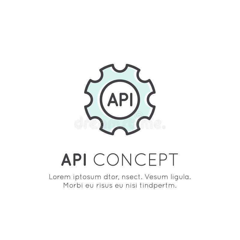 API Podaniowego programowania interfejs, Obłoczni dane, sieć i Mobilny App rozwój, royalty ilustracja