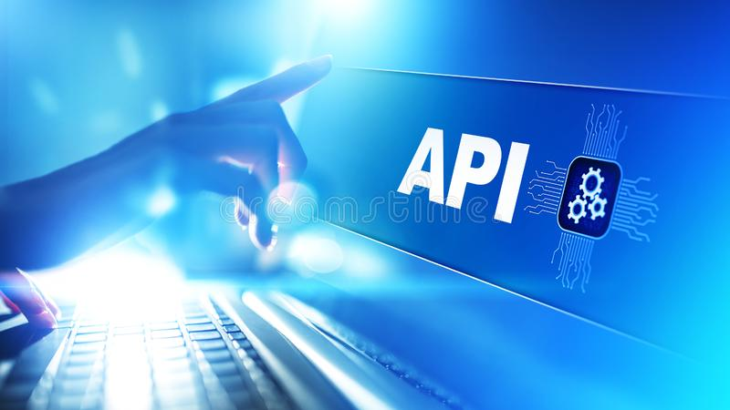 API - Podaniowego programowania interfejs, rozwój oprogramowania narzędzie, technologie informacyjne i biznesu pojęcie, royalty ilustracja