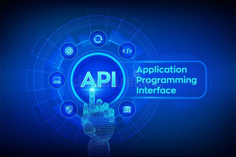 API Podaniowego programowania interfejs, rozw?j oprogramowania narz?dzie, technologie informacyjne i biznesu poj?cie na wirtualny ilustracja wektor