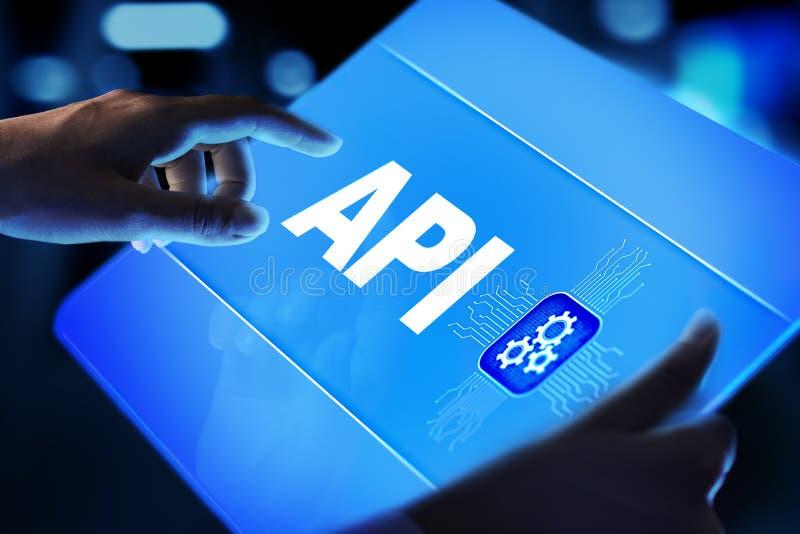 API - Relação de programação de aplicativo, ferramenta de programação de software, tecnologia da informação e conceito do negócio ilustração stock