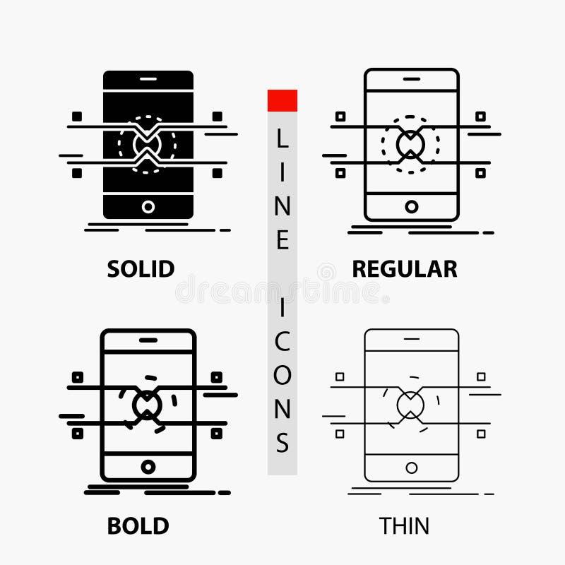 Api, relação, móbil, telefone, ícone do smartphone na linha e no estilo finos, regulares, corajosos do Glyph Ilustra??o do vetor ilustração do vetor