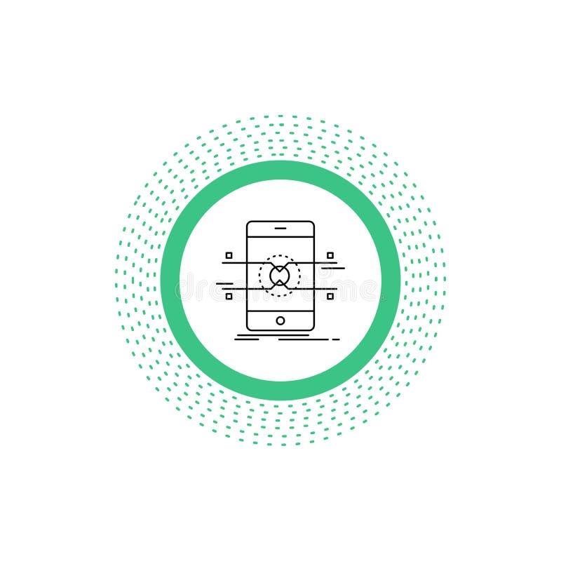 API, Schnittstelle, Mobile, Telefon, Smartphone Linie Ikone Vektor lokalisierte Illustration stock abbildung